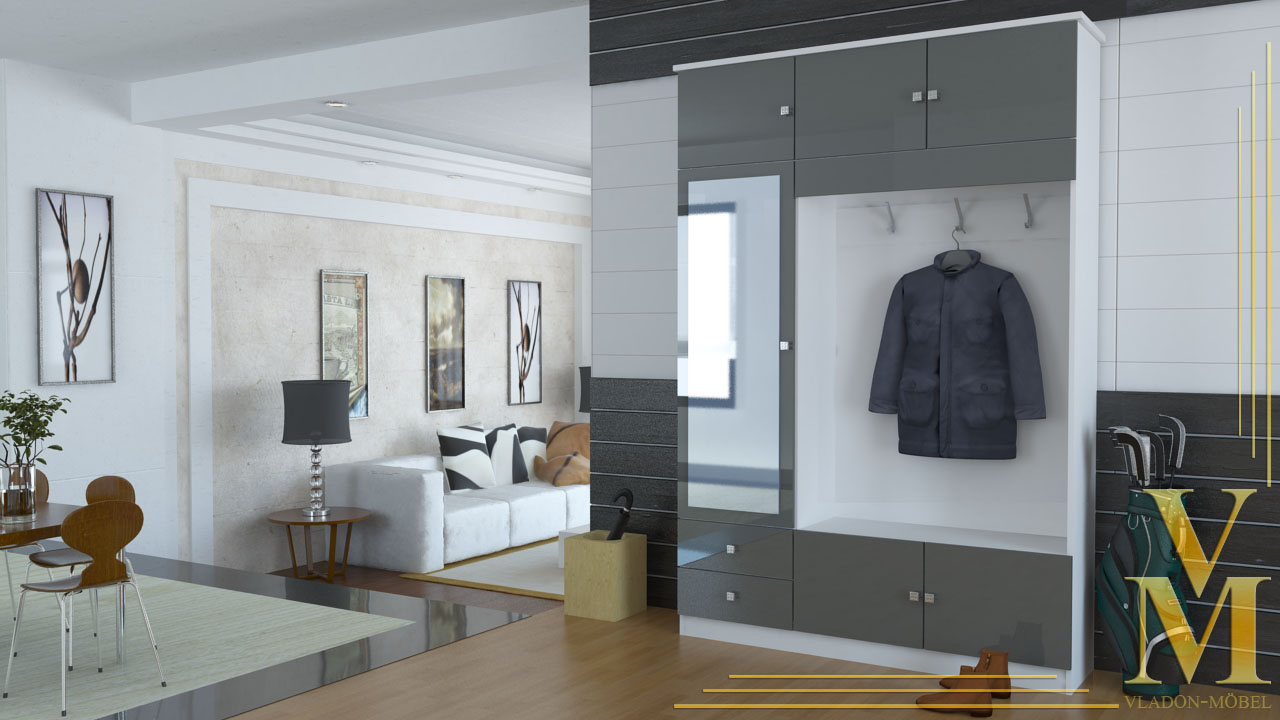kompaktgarderobe garderobe flurschrank in wei grau hochglanz ebay. Black Bedroom Furniture Sets. Home Design Ideas