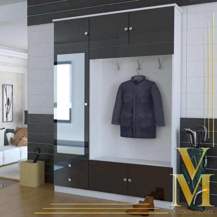 kompaktgarderobe garderobe flurschrank in hochglanz ebay. Black Bedroom Furniture Sets. Home Design Ideas