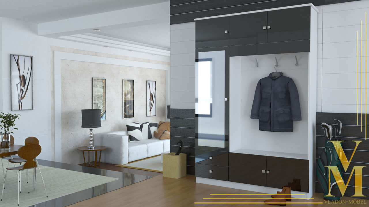 kompaktgarderobe garderobe flurschrank in wei schwarz hochglanz ebay. Black Bedroom Furniture Sets. Home Design Ideas