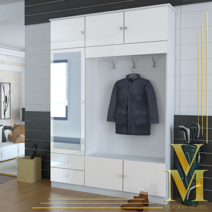 kompaktgarderobe garderobe flurschrank in hochglanz ebay. Black Bedroom Furniture Sets. Home Design Ideas
