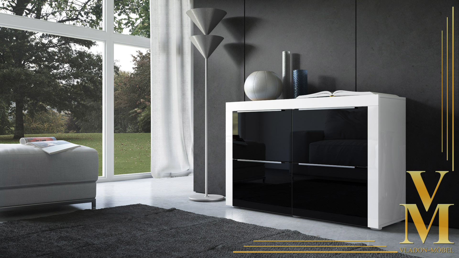 kommode sideboard tv board highboard schrank la paz in wei schwarz hochglanz ebay. Black Bedroom Furniture Sets. Home Design Ideas