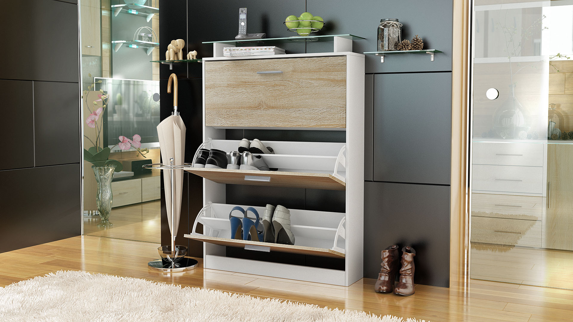 shoe storage rack cabinet organizer lavia in white high gloss natural tones ebay. Black Bedroom Furniture Sets. Home Design Ideas