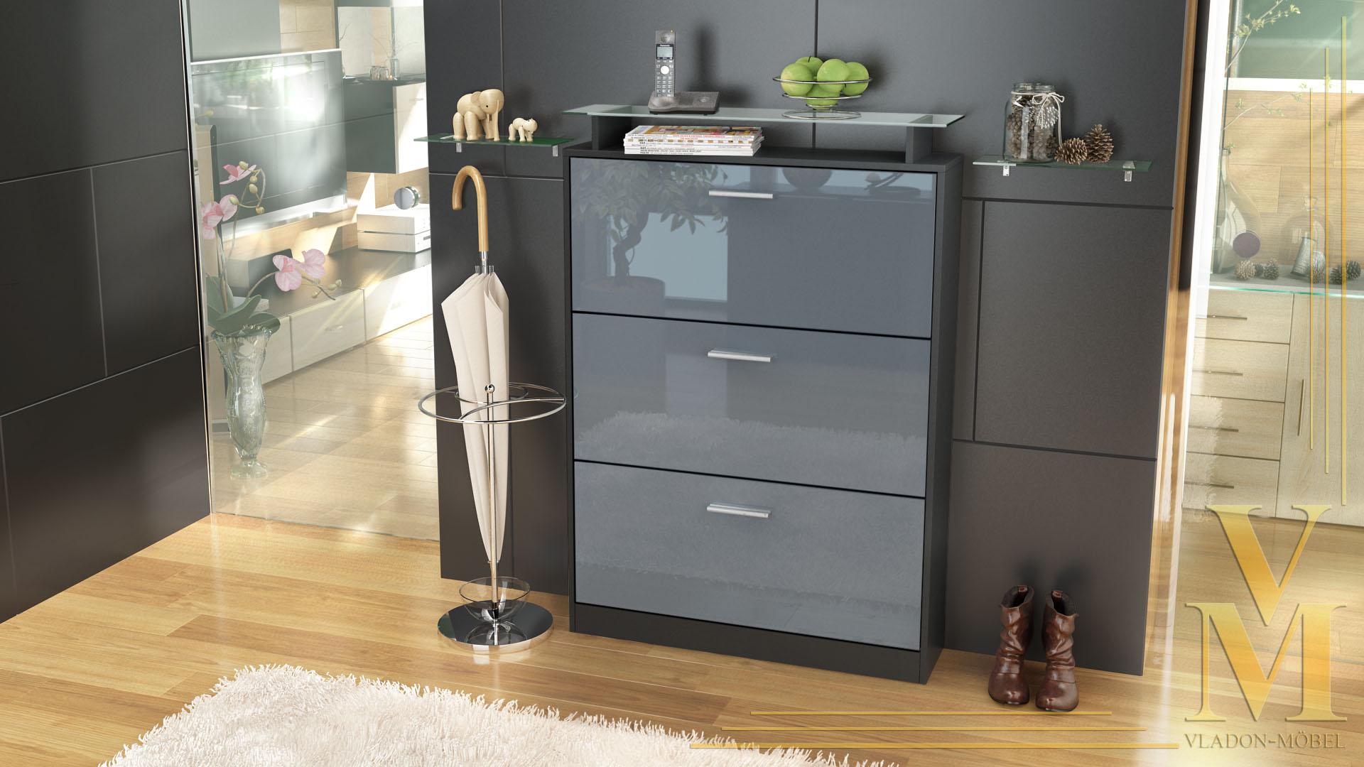 schuhschrank schuhkipper diele flur schrank lavia schwarz hochglanz naturt ne ebay. Black Bedroom Furniture Sets. Home Design Ideas
