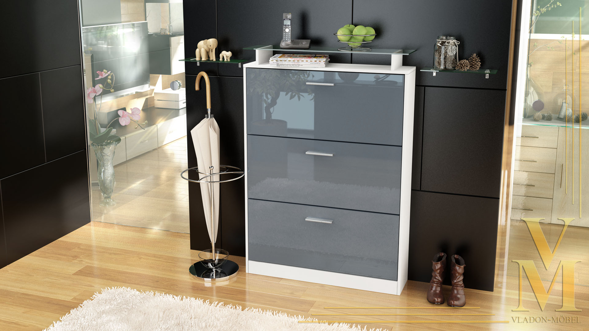schuhschrank schuhkipper lavia in wei grau hochglanz ebay. Black Bedroom Furniture Sets. Home Design Ideas