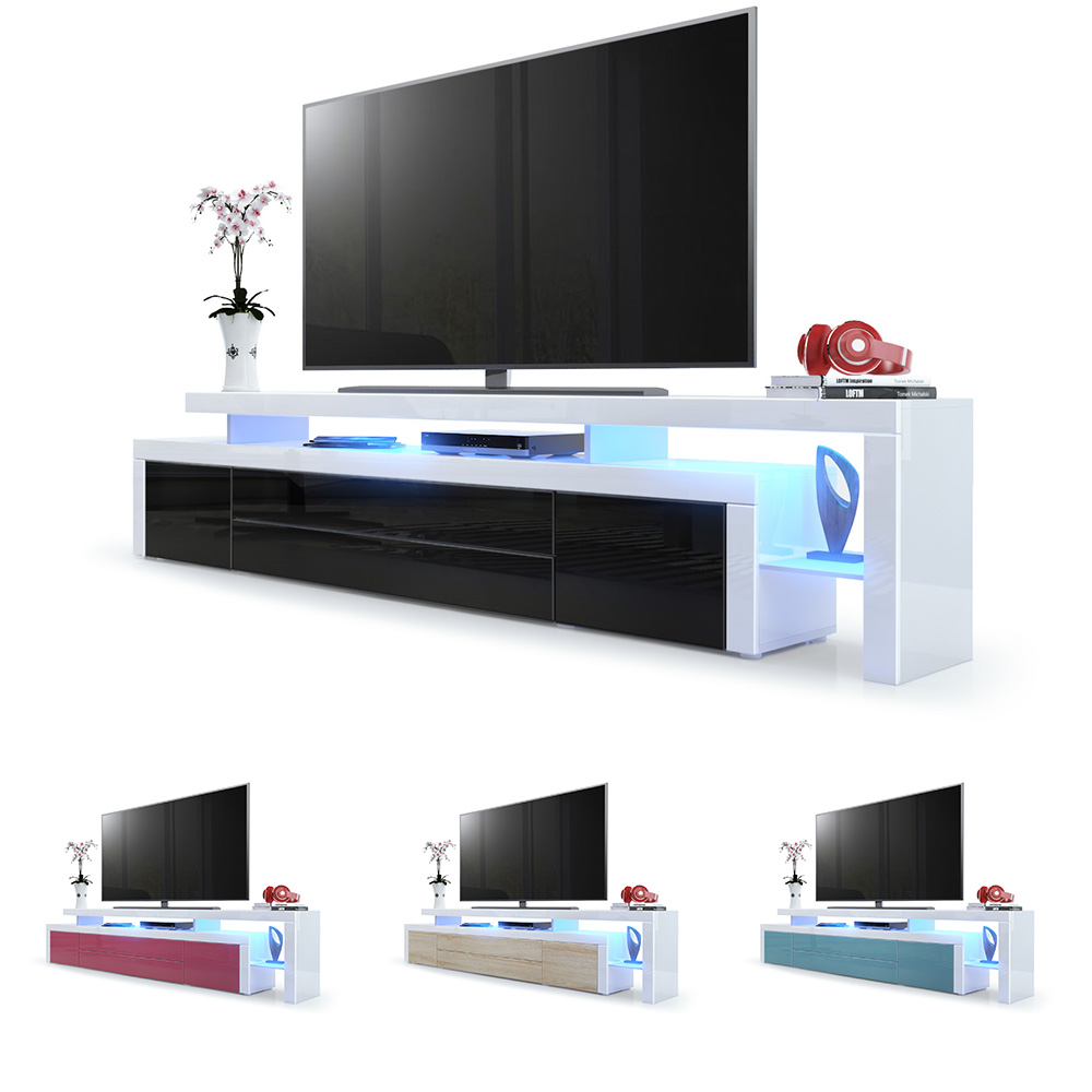 tv lowboard board schrank fernsehtisch leon v3 in wei hochglanz naturt ne ebay. Black Bedroom Furniture Sets. Home Design Ideas