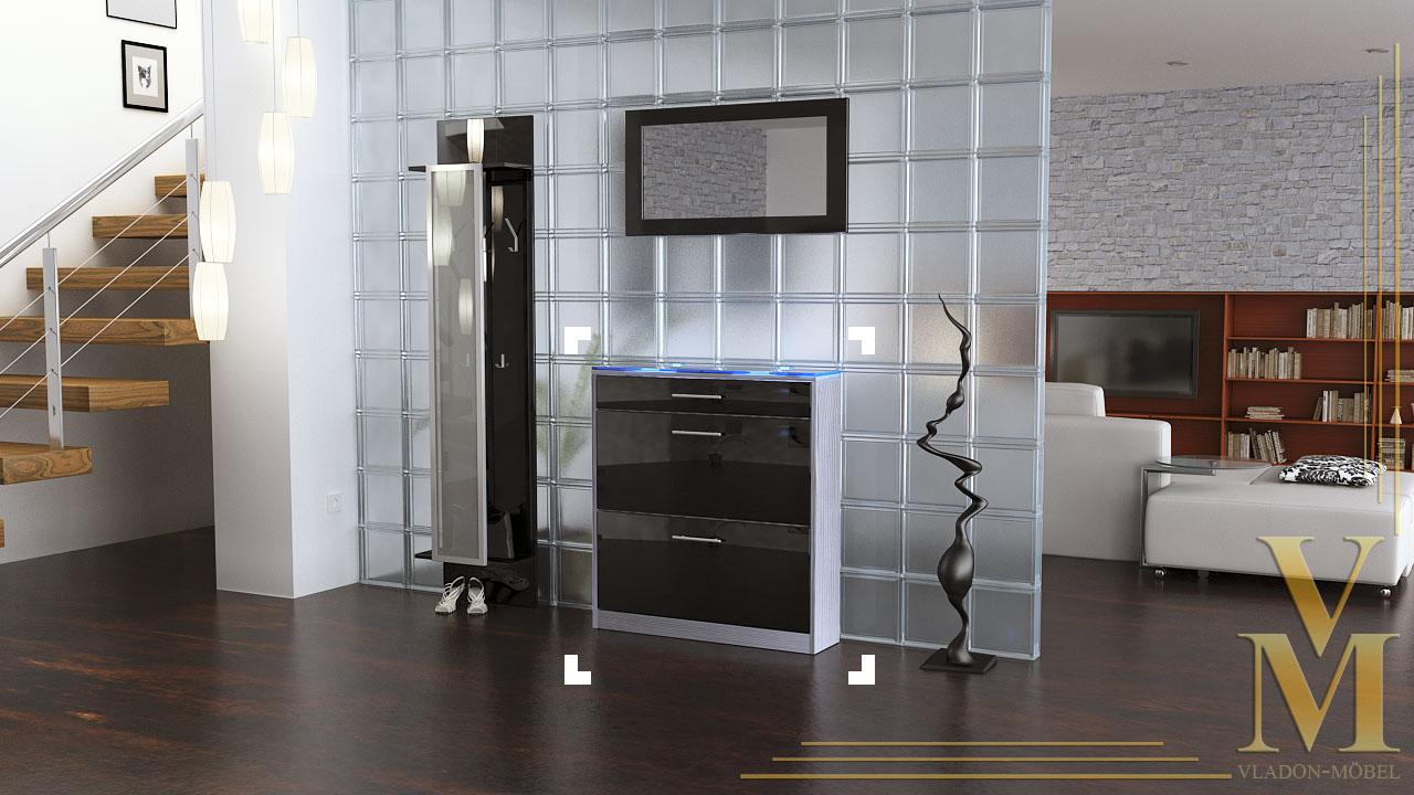 schuhschrank schuhkipper leyla hochglanz oder naturton ebay. Black Bedroom Furniture Sets. Home Design Ideas