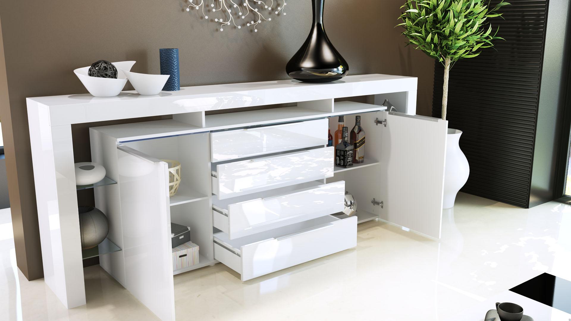 Schrank Jersey Kommode Weiß Sideboard : Sideboard mit 4 Schubkästen und 2 Türen Mit 2 großen Innenräumen
