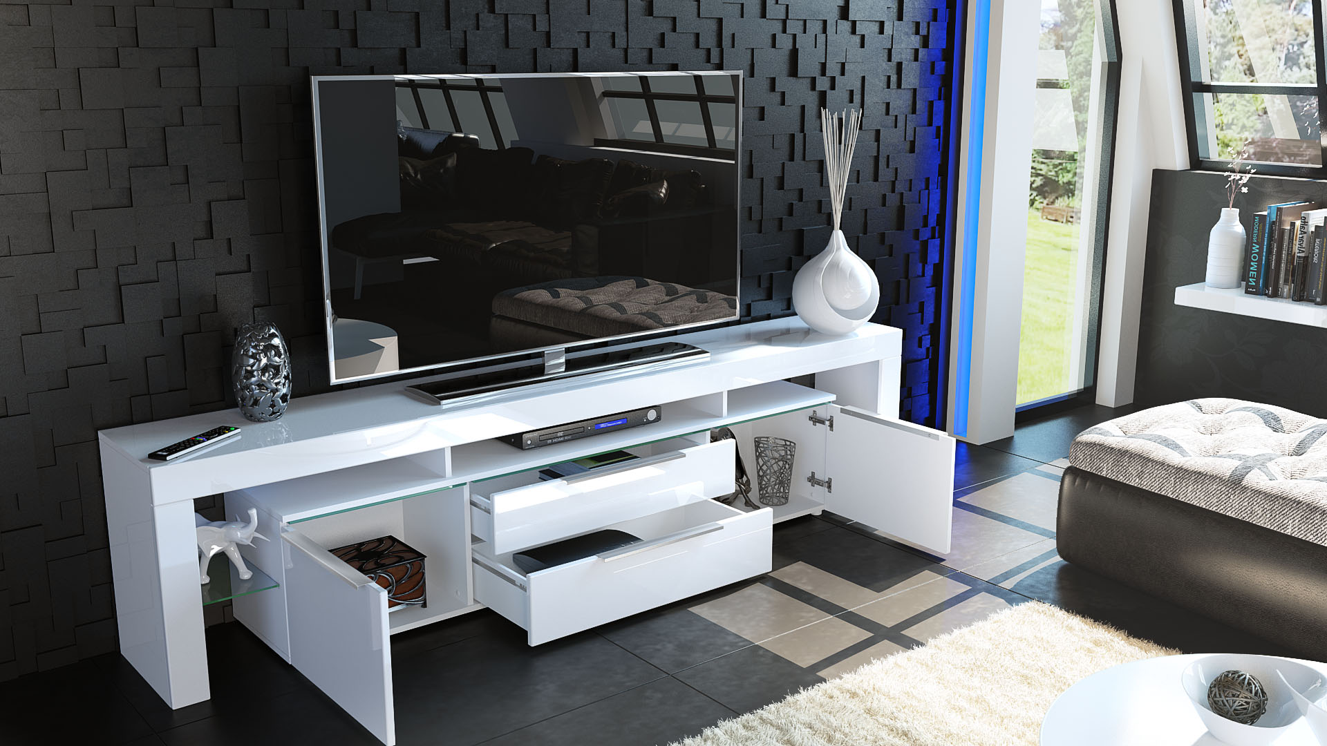 sideboard tall display cabinet tv unit lima nova in white high gloss. Black Bedroom Furniture Sets. Home Design Ideas
