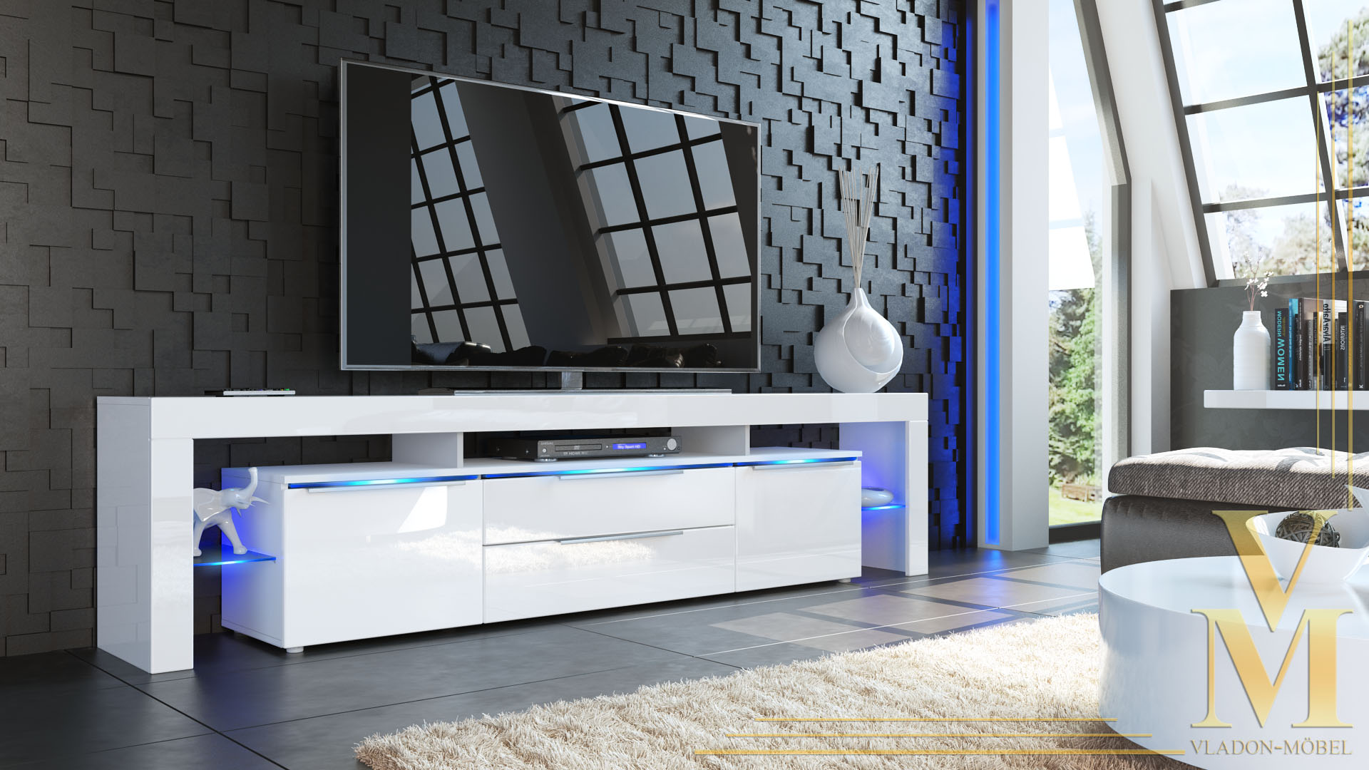 sideboard tall display cabinet tv unit lima nova in white. Black Bedroom Furniture Sets. Home Design Ideas