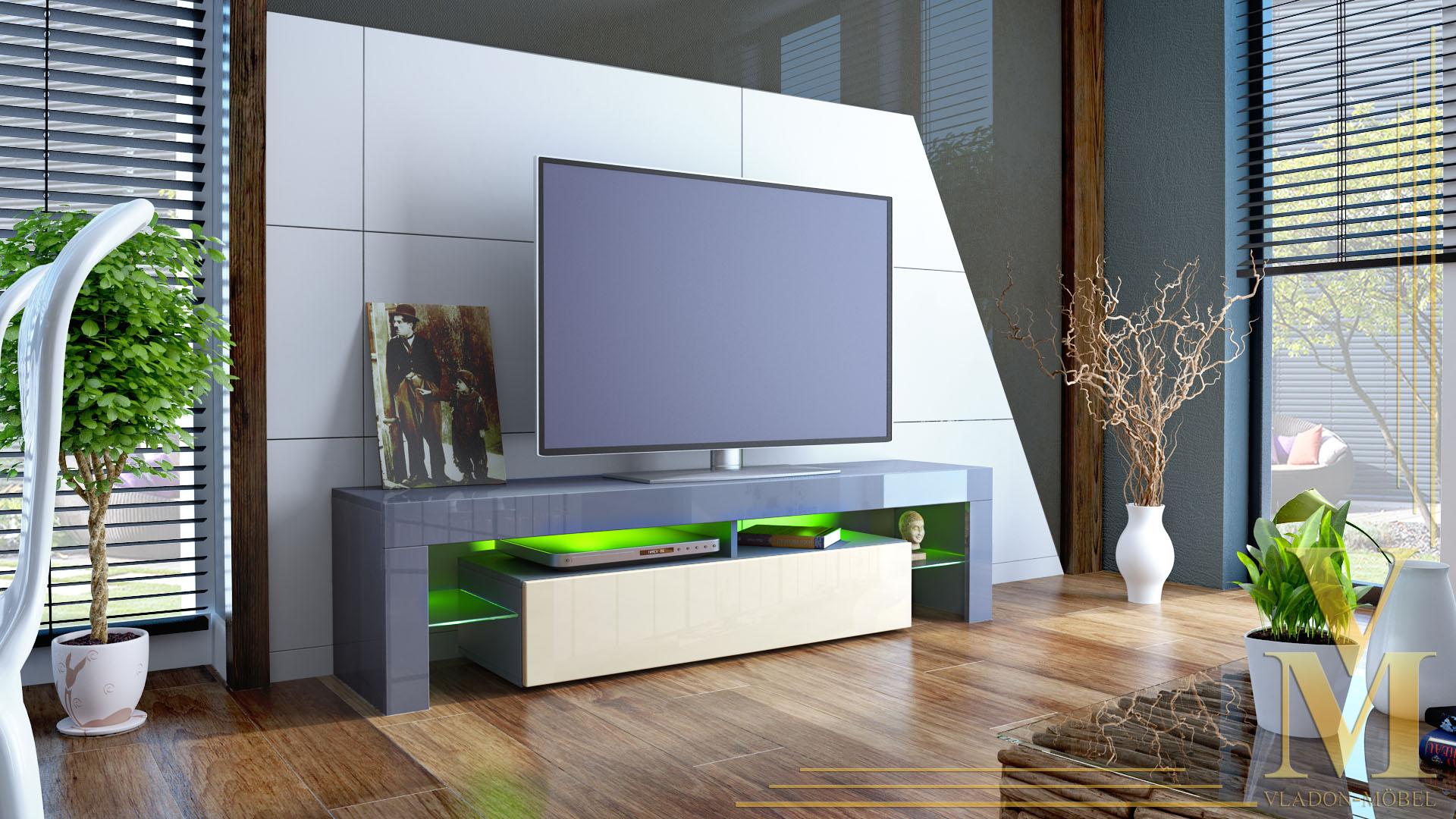 tv stand unit board lowboard cabinet lima grey high. Black Bedroom Furniture Sets. Home Design Ideas