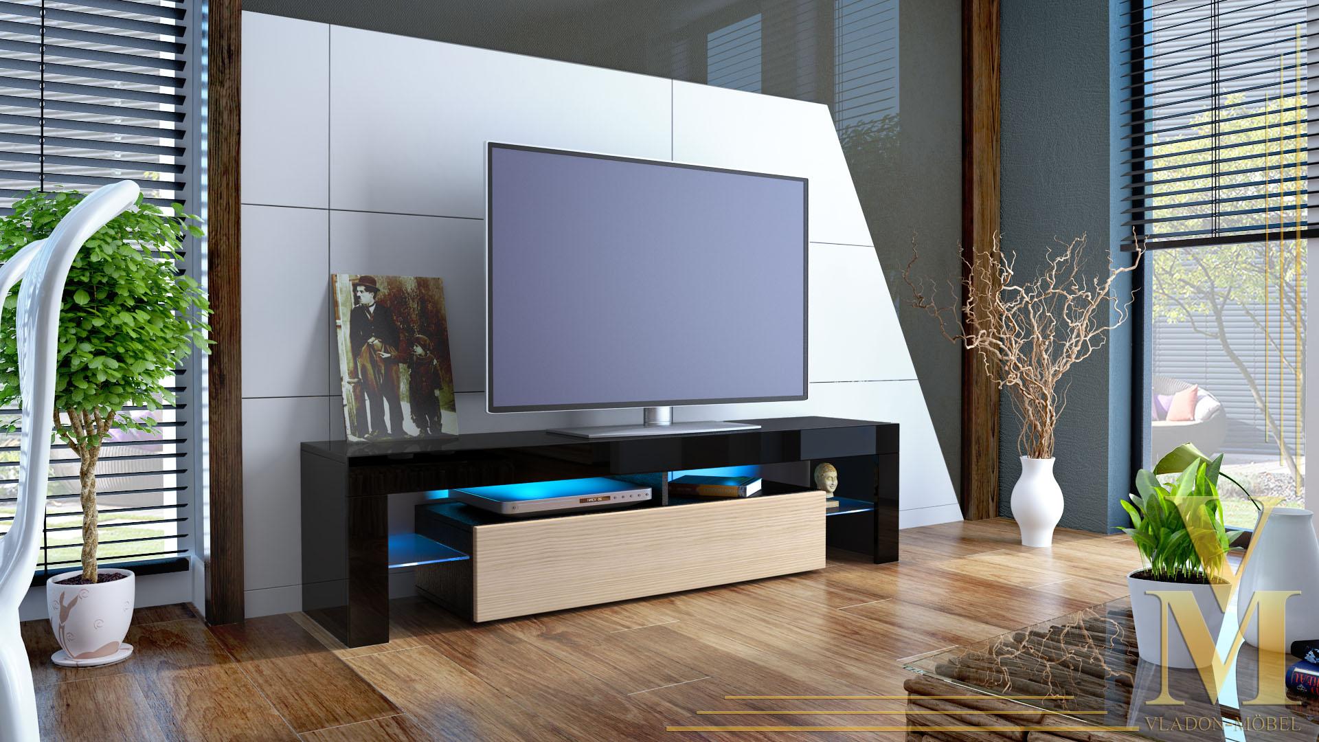 lowboard tv board kommode tisch rack moebel lima schwarz hochglanz amp. Black Bedroom Furniture Sets. Home Design Ideas