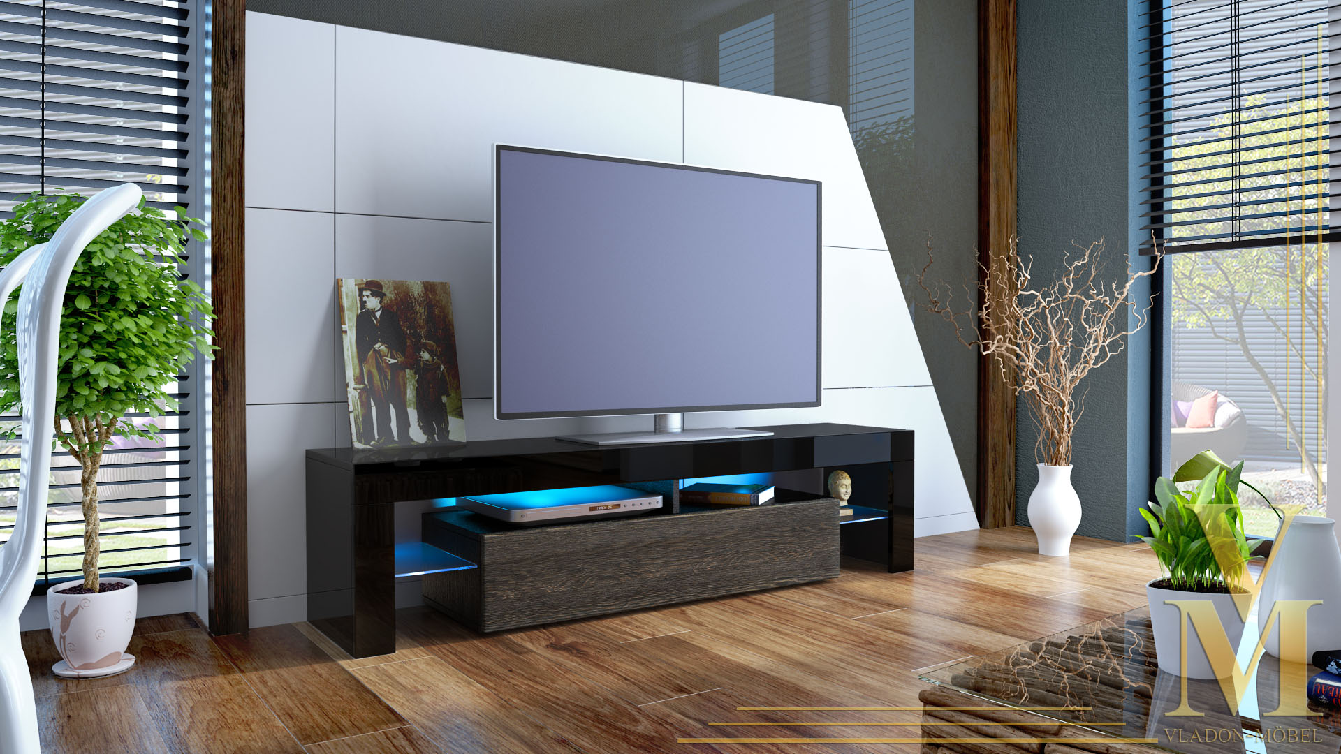 TV Stand Unit Board Lowboard Cabinet Lima Black  High  -> Tv Lowboard Lima