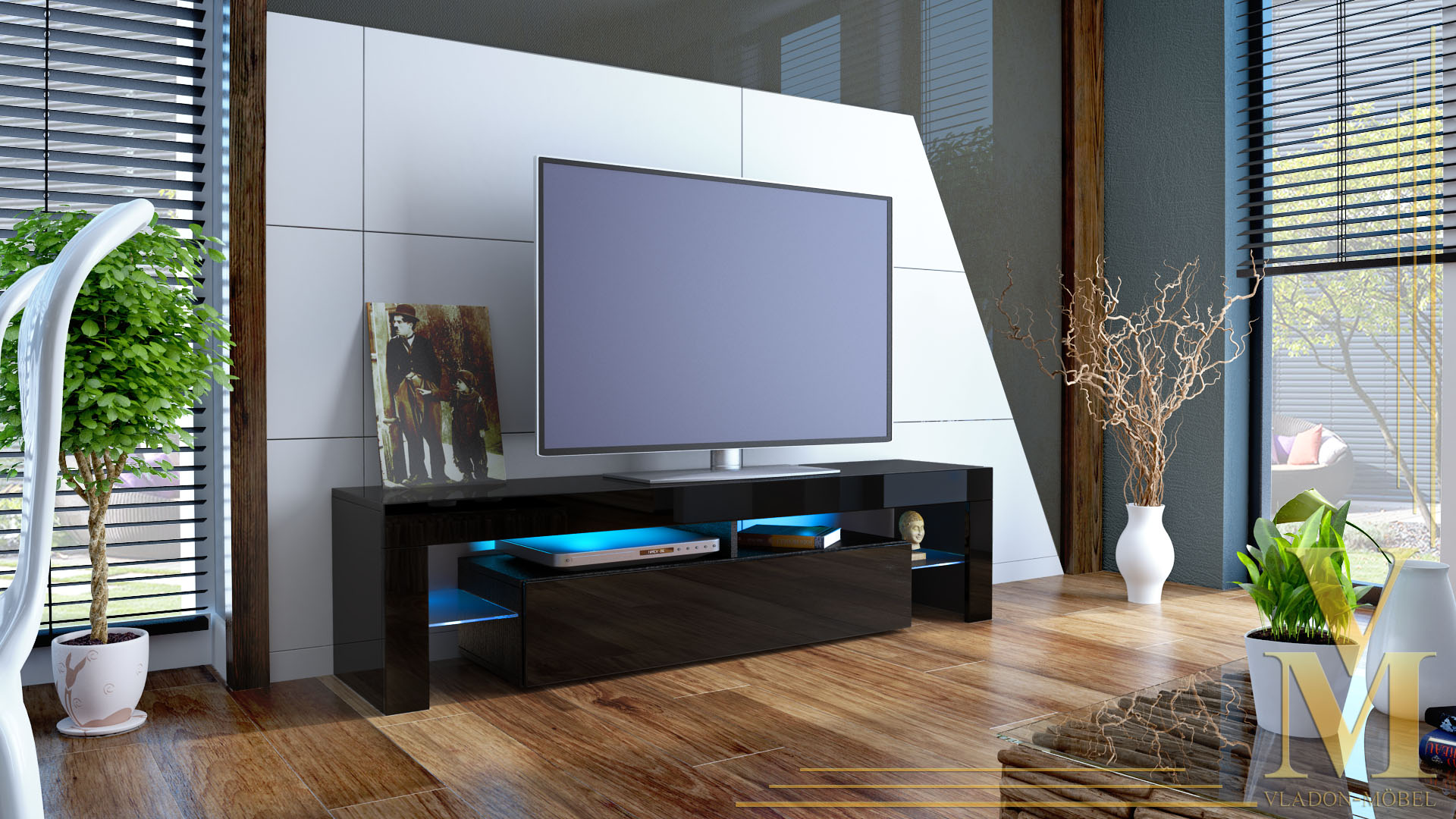 lowboard tv board kommode tisch rack m bel lima schwarz. Black Bedroom Furniture Sets. Home Design Ideas