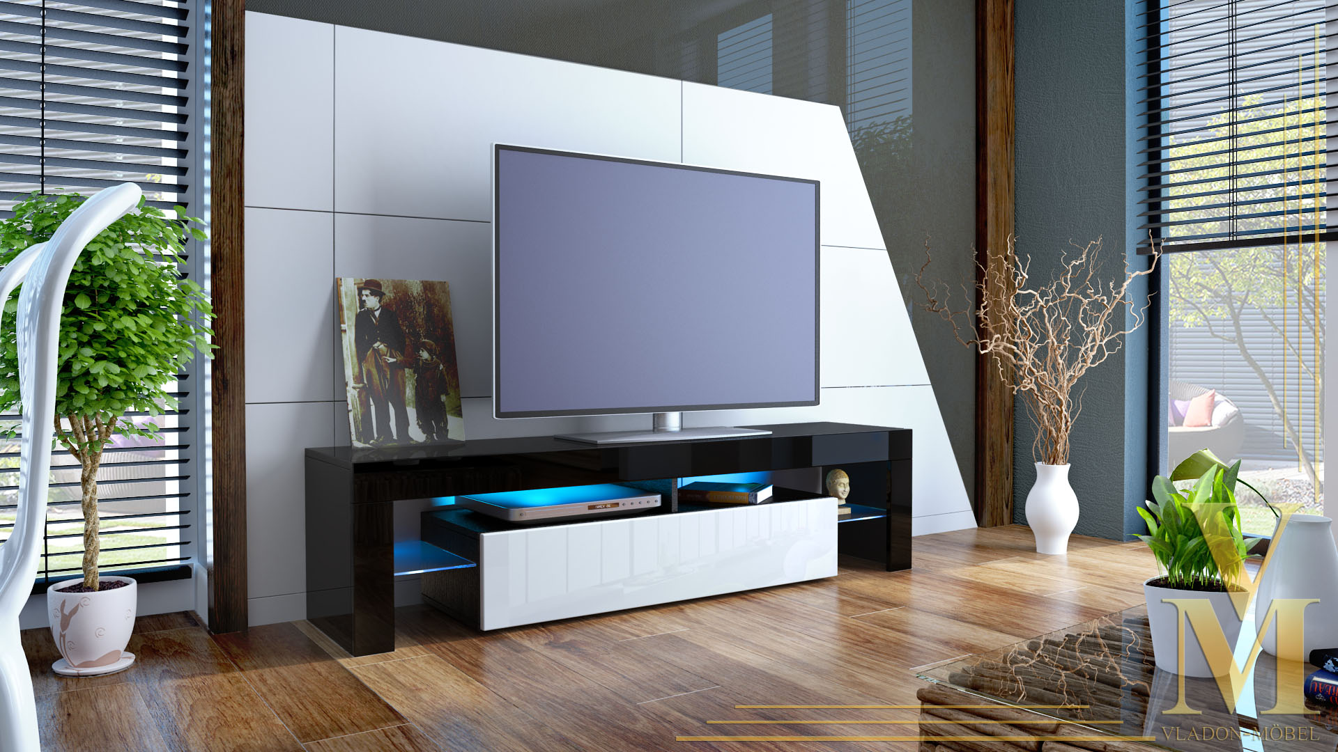 lowboard tv board kommode tisch rack m bel lima schwarz hochglanz naturt ne ebay. Black Bedroom Furniture Sets. Home Design Ideas