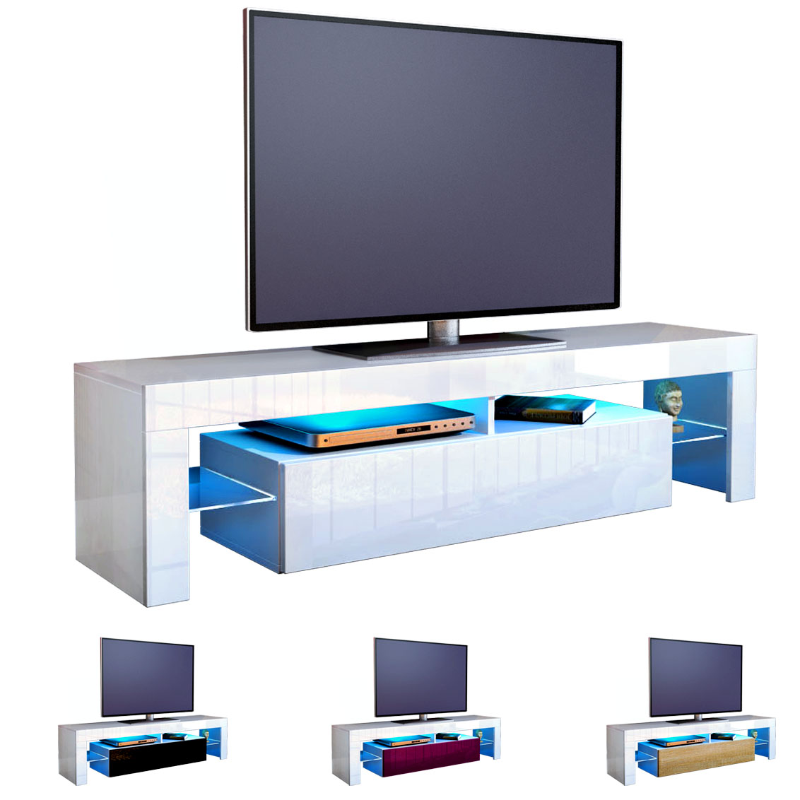 TV Stand Unit Board Lowboard Cabinet Lima White  High  -> Tv Lowboard Lima