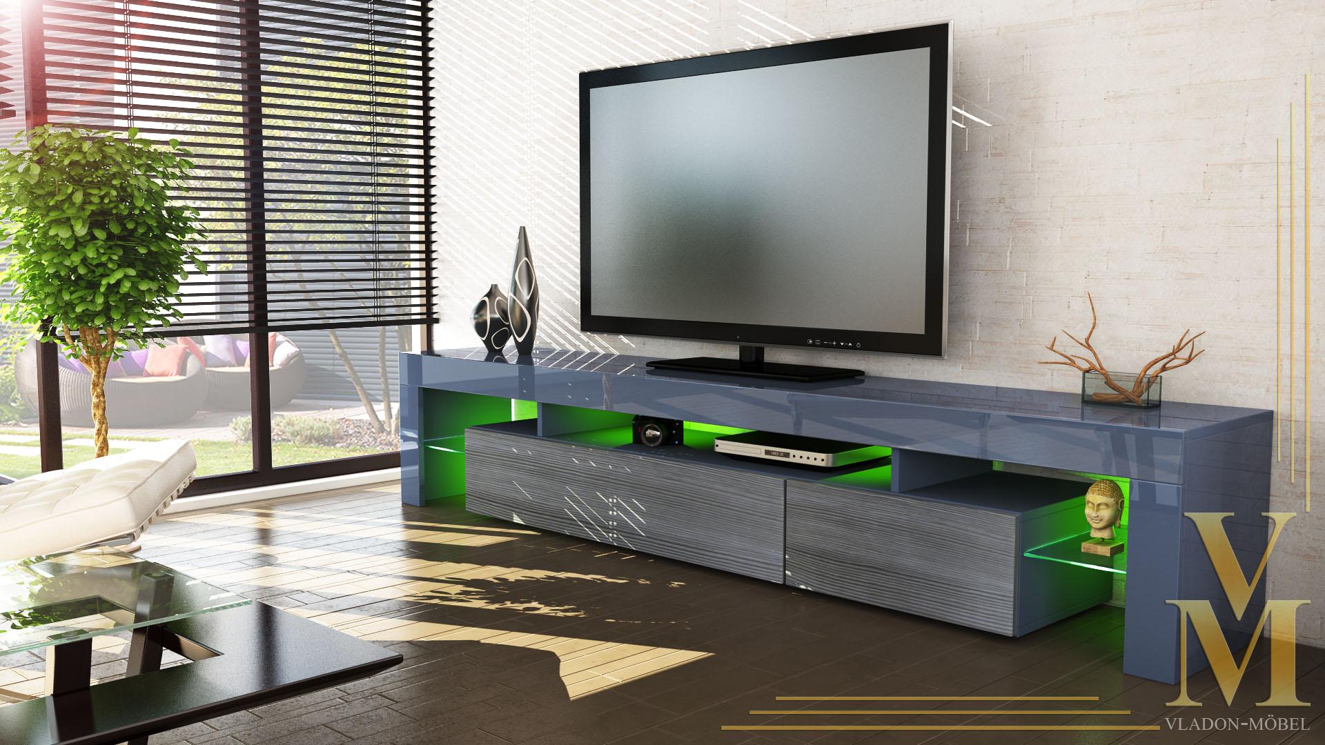 tv stand unit board lowboard cabinet lima v2 grey high gloss natural tones ebay. Black Bedroom Furniture Sets. Home Design Ideas