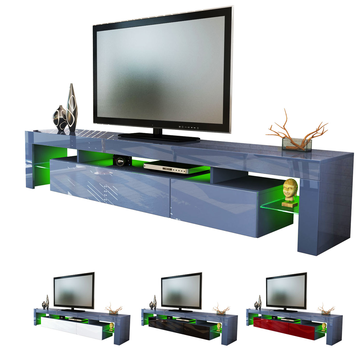 tv stand unit board lowboard cabinet lima v2 grey high gloss natural tones ebay. Black Bedroom Furniture Sets. Home Design Ideas