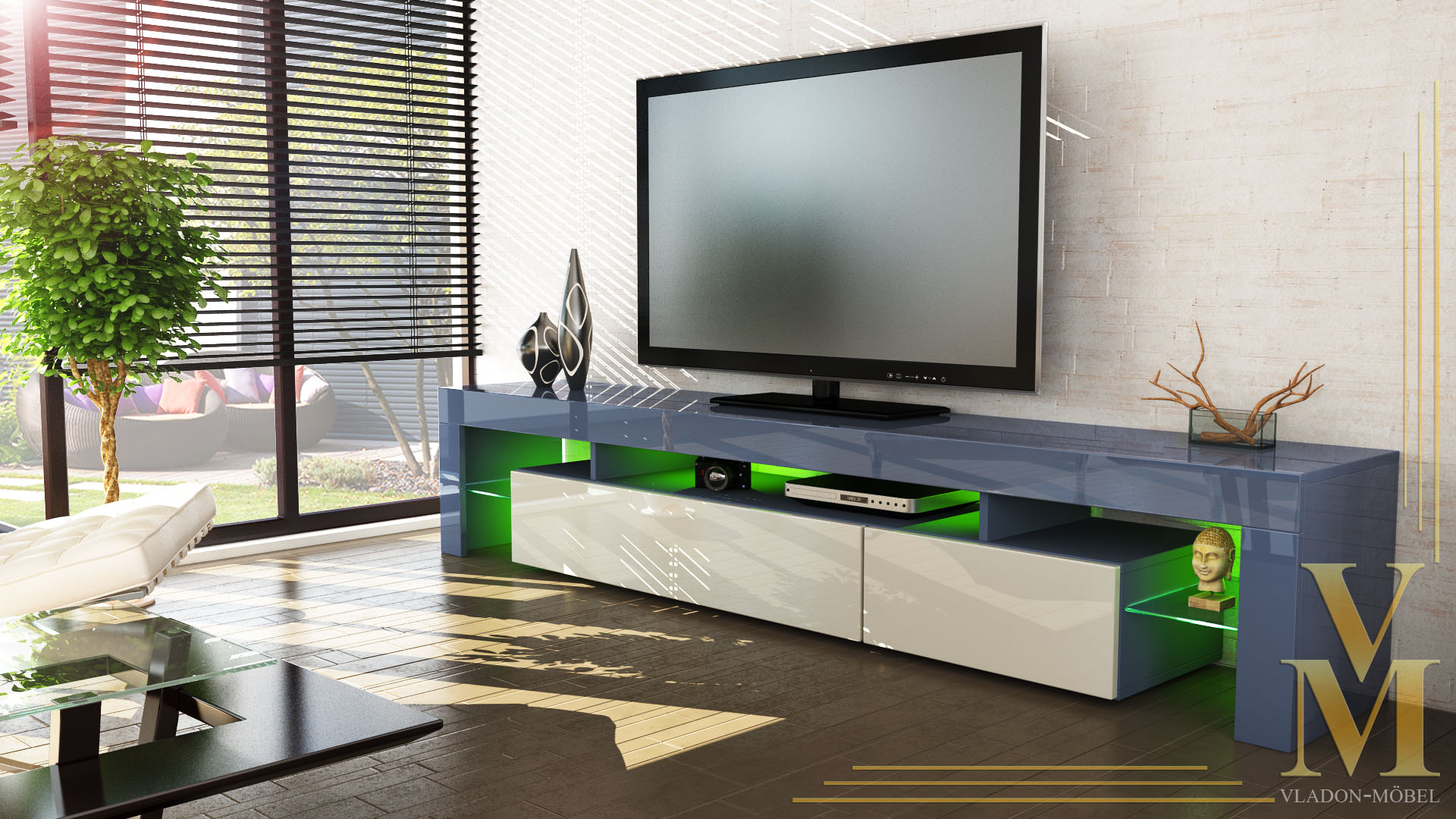 tv board lowboard kommode rack sideboard lima v2 in grau hochglanz naturt ne ebay. Black Bedroom Furniture Sets. Home Design Ideas