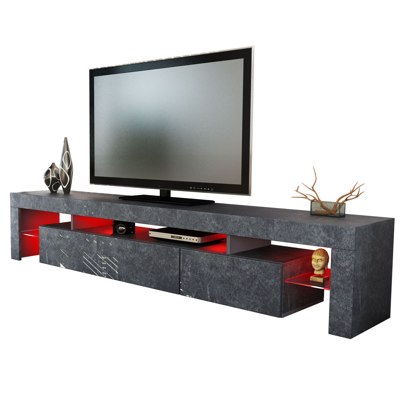 tv board lowboard kommode tisch rack sideboard lima in moderner schieferoptik ebay. Black Bedroom Furniture Sets. Home Design Ideas