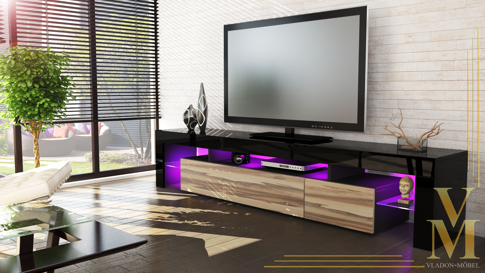 lowboard kommode tv board tisch rack m bel lima v2 schwarz. Black Bedroom Furniture Sets. Home Design Ideas