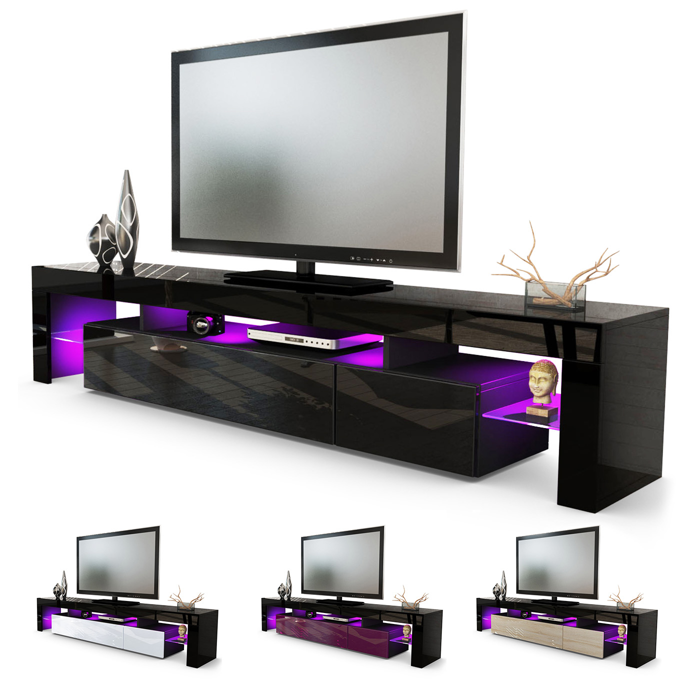 tv board lowboard kommode sideboard lima v2 in schwarz hochglanz naturt ne ebay. Black Bedroom Furniture Sets. Home Design Ideas