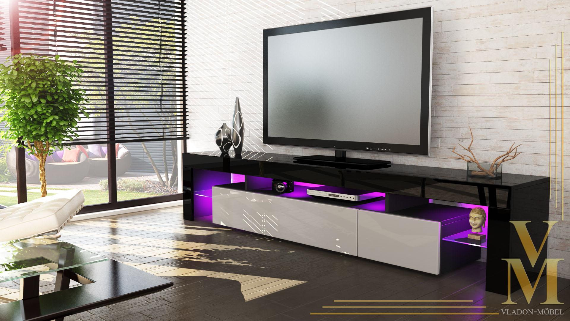 lowboard kommode tv board tisch rack m bel lima v2 schwarz. Black Bedroom Furniture Sets. Home Design Ideas