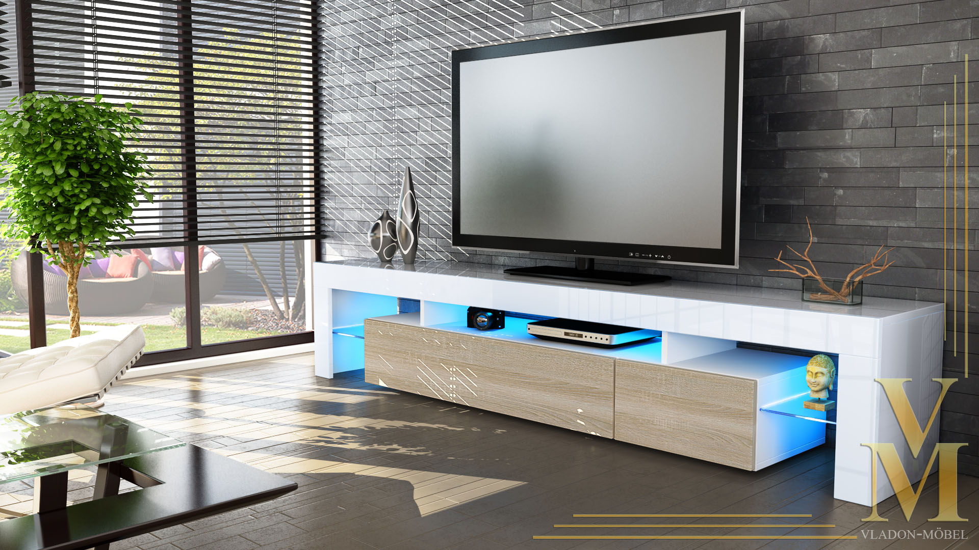 tv board lowboard kommode rack sideboard lima v2 in wei hochglanz naturt ne ebay. Black Bedroom Furniture Sets. Home Design Ideas