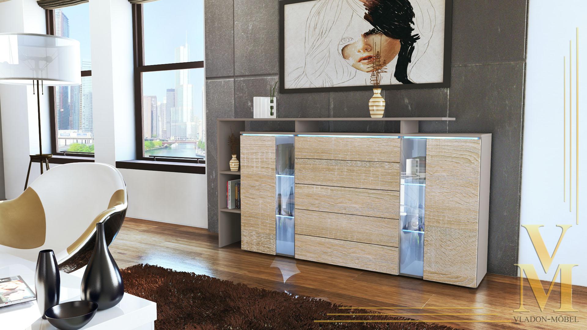 modern highboard sideboard buffet cabinet lissabon. Black Bedroom Furniture Sets. Home Design Ideas