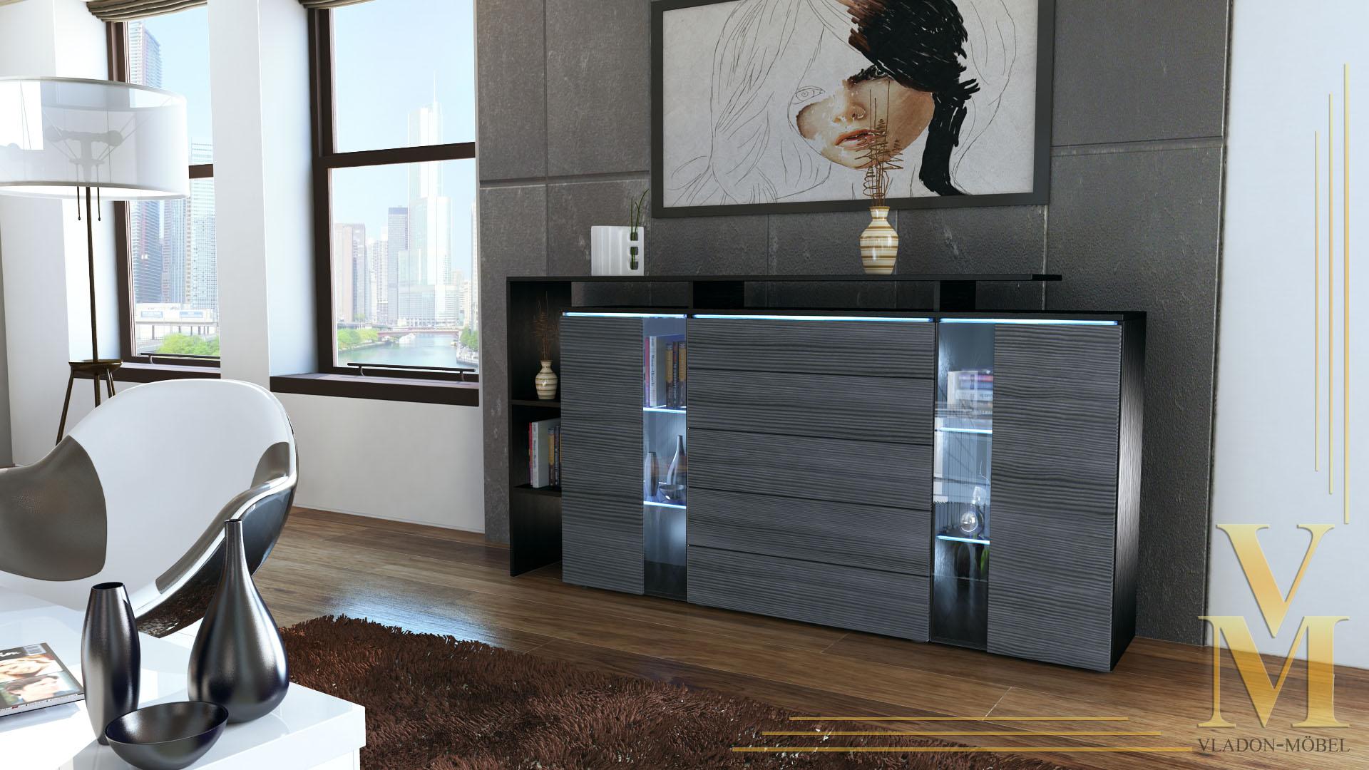 highboard sideboard schrank kommode lissabon schwarz. Black Bedroom Furniture Sets. Home Design Ideas