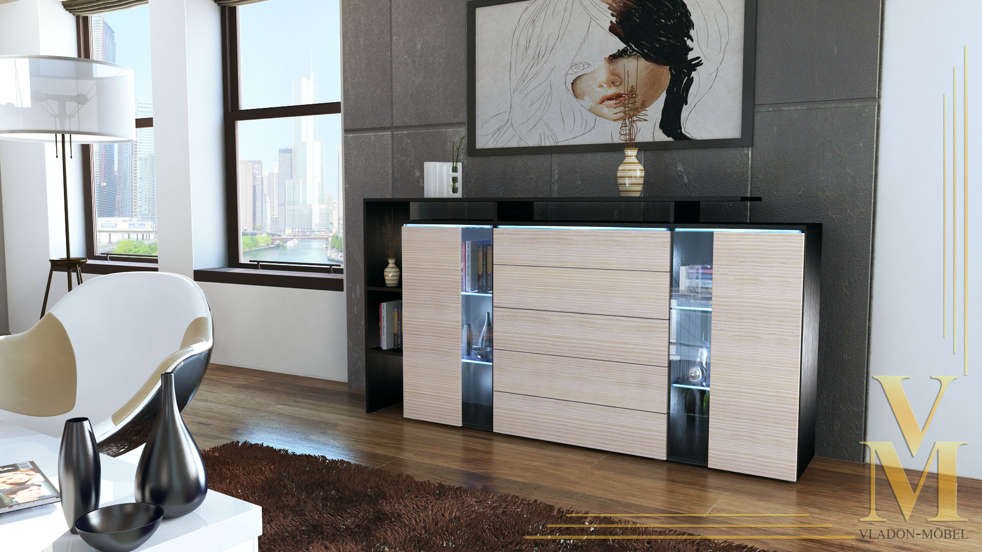 modern highboard sideboard buffet cabinet dresser lissabon. Black Bedroom Furniture Sets. Home Design Ideas