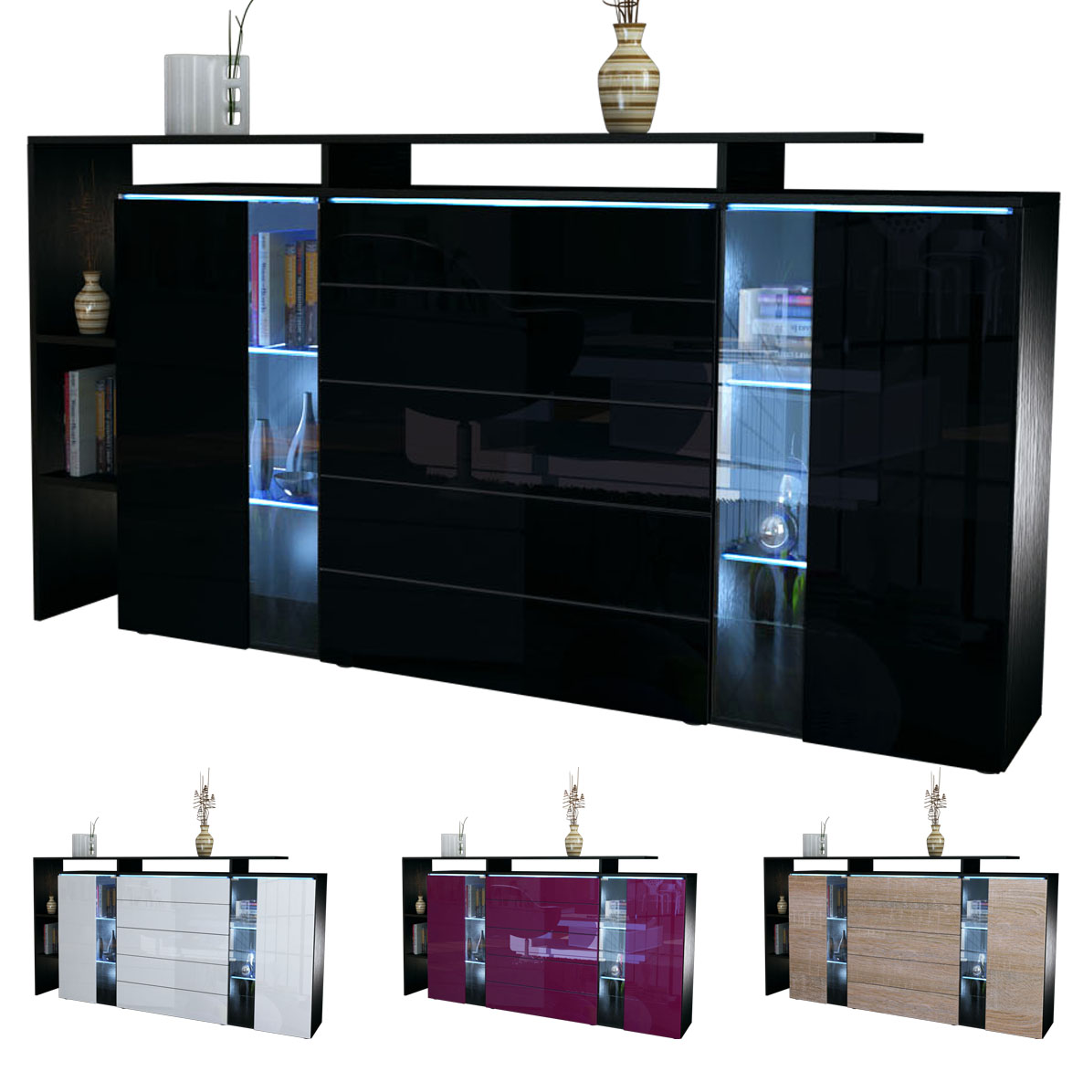 highboard sideboard cabinet buffet lissabon black high. Black Bedroom Furniture Sets. Home Design Ideas