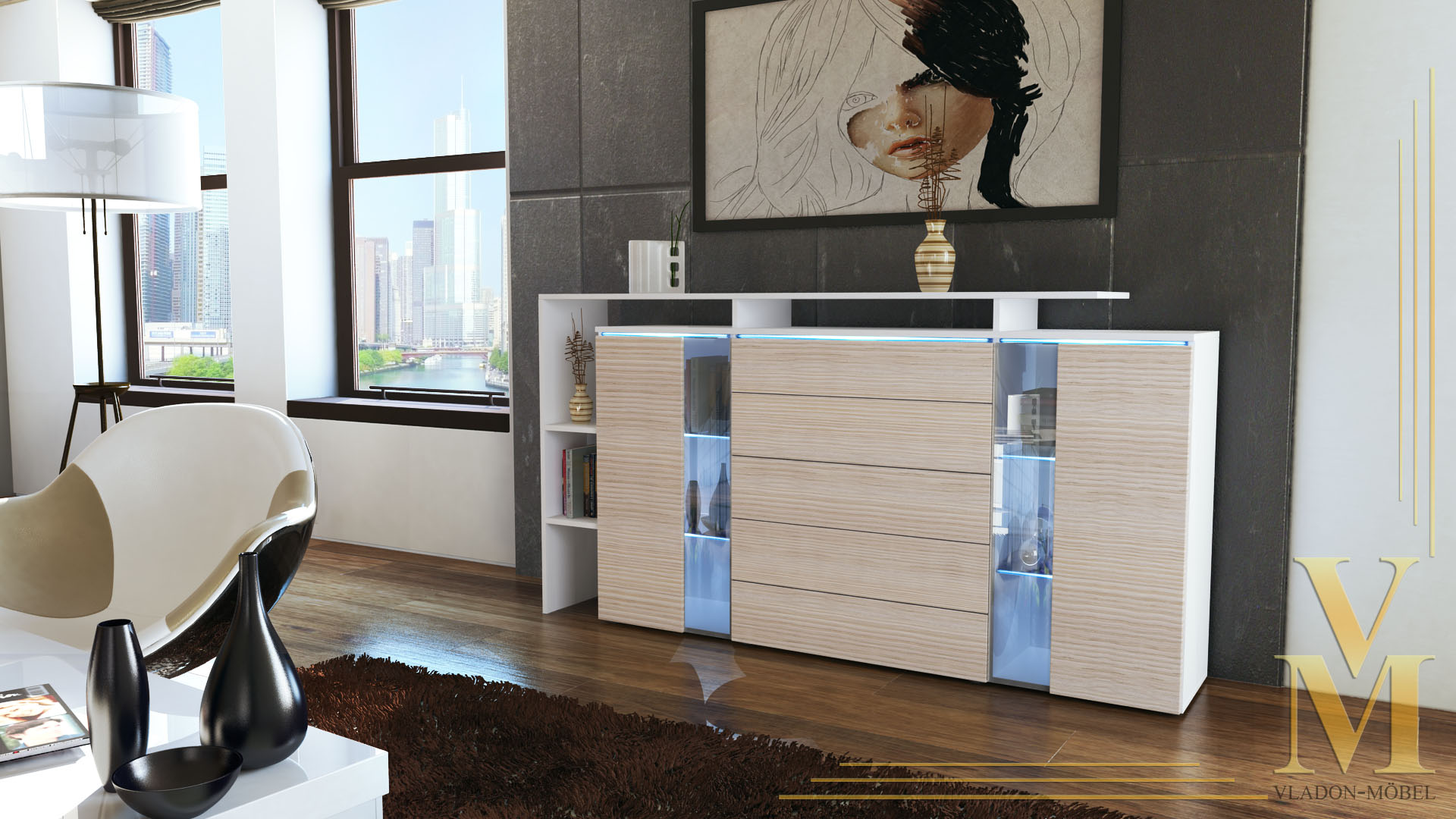 modern highboard sideboard buffet cabinet dresser lissabon white high gloss ebay. Black Bedroom Furniture Sets. Home Design Ideas