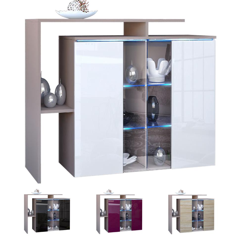 moderne kommode sideboard anrichte lissabon cappuccino hochglanz naturt ne ebay. Black Bedroom Furniture Sets. Home Design Ideas