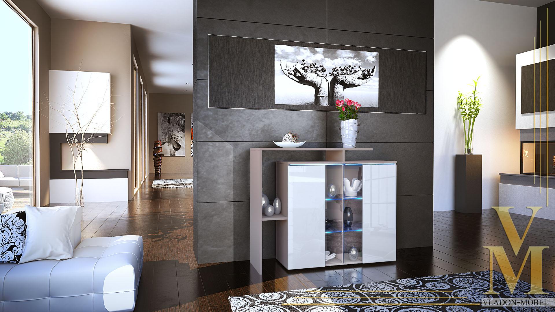 Moderne Einrichtung Naturtone | Moderne Kommode Sideboard Anrichte Lissabon Cappuccino Hochglanz