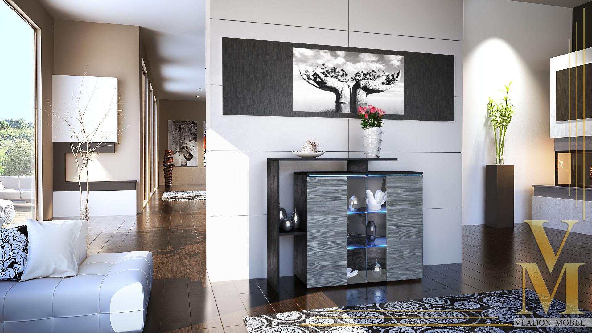 kommode schrank anrichte sideboard lissabon in schwarz. Black Bedroom Furniture Sets. Home Design Ideas
