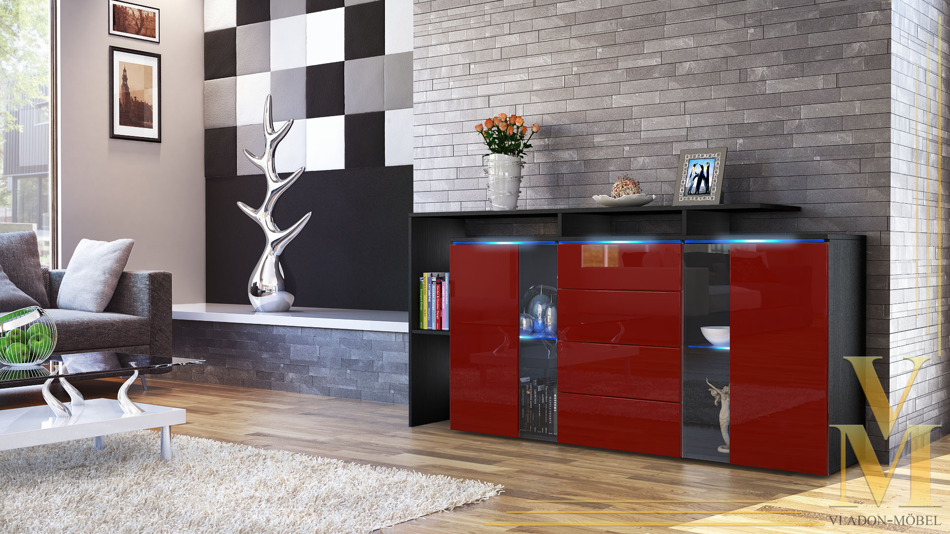 sideboard tv board anrichte kommode lissabon schwarz in hochglanz naturt nen ebay. Black Bedroom Furniture Sets. Home Design Ideas