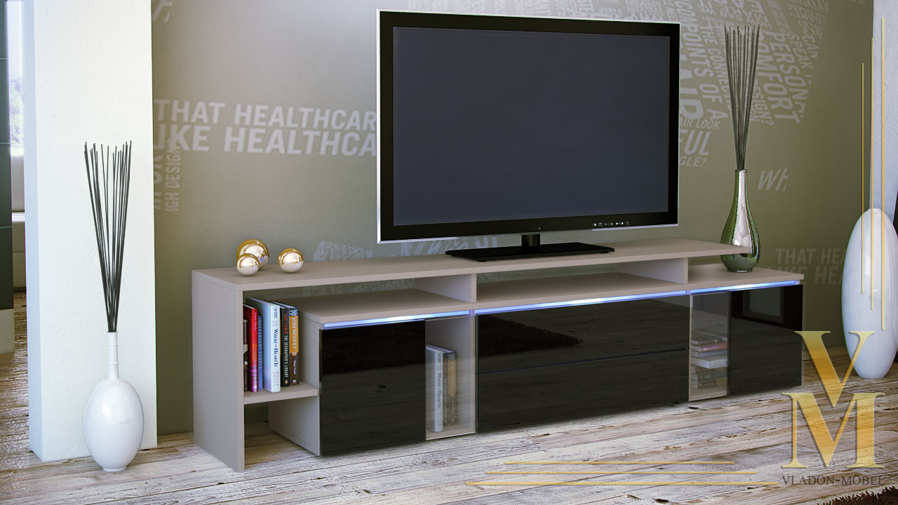 modern tv stand media entertainment center unit lissabon cappuccino high gloss ebay. Black Bedroom Furniture Sets. Home Design Ideas