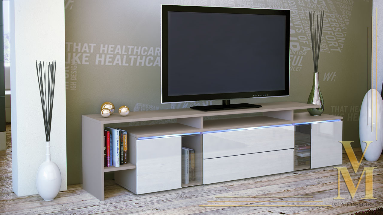 tv board lowboard sideboard tisch lissabon cappuccino hochglanz naturt ne ebay. Black Bedroom Furniture Sets. Home Design Ideas