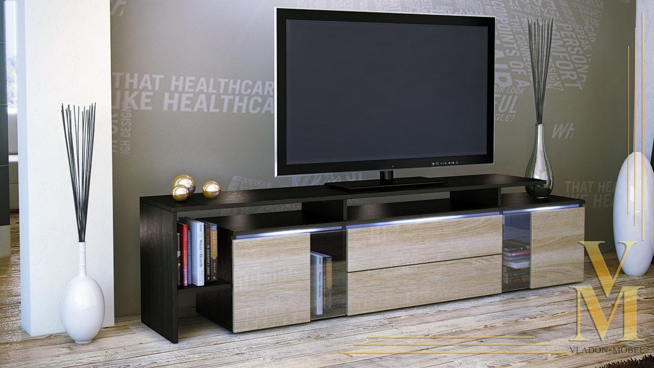 modern tv stand media entertainment center unit lissabon black high gloss ebay. Black Bedroom Furniture Sets. Home Design Ideas