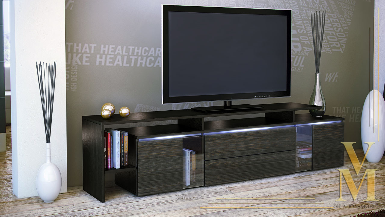 modern tv stand media entertainment center unit lissabon black high gloss ebay. Black Bedroom Furniture Sets. Home Design Ideas