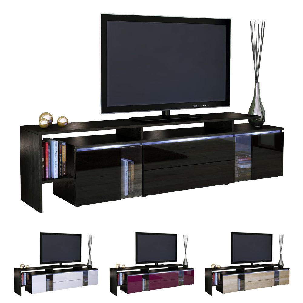 tv stand board unit lowboard cabinet lissabon black high. Black Bedroom Furniture Sets. Home Design Ideas