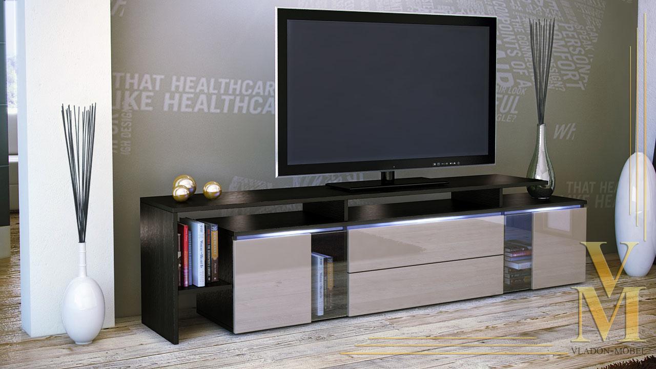tv stand board unit lowboard cabinet lissabon black high gloss natural tones ebay. Black Bedroom Furniture Sets. Home Design Ideas