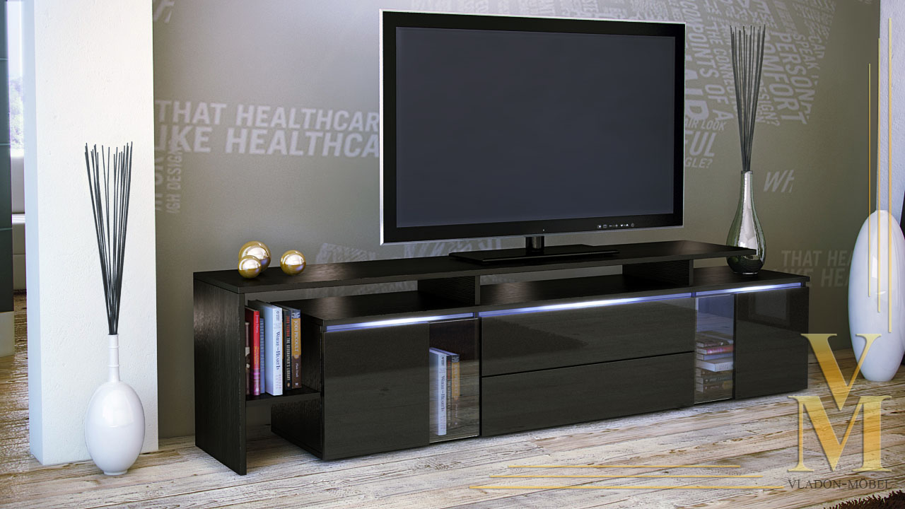 tv stand board unit lowboard cabinet lissabon black high gloss natural tones ebay. Black Bedroom Furniture Sets. Home Design Ideas