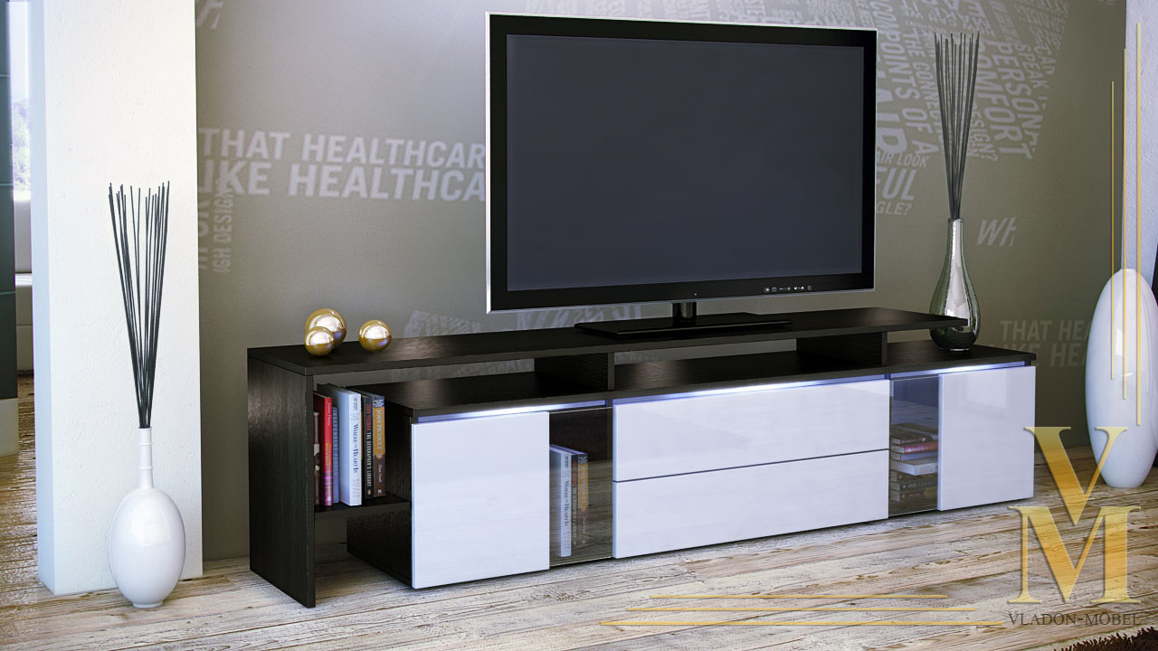 tv board lowboard sideboard tisch lissabon schwarz in hochglanz oder naturfarben ebay. Black Bedroom Furniture Sets. Home Design Ideas