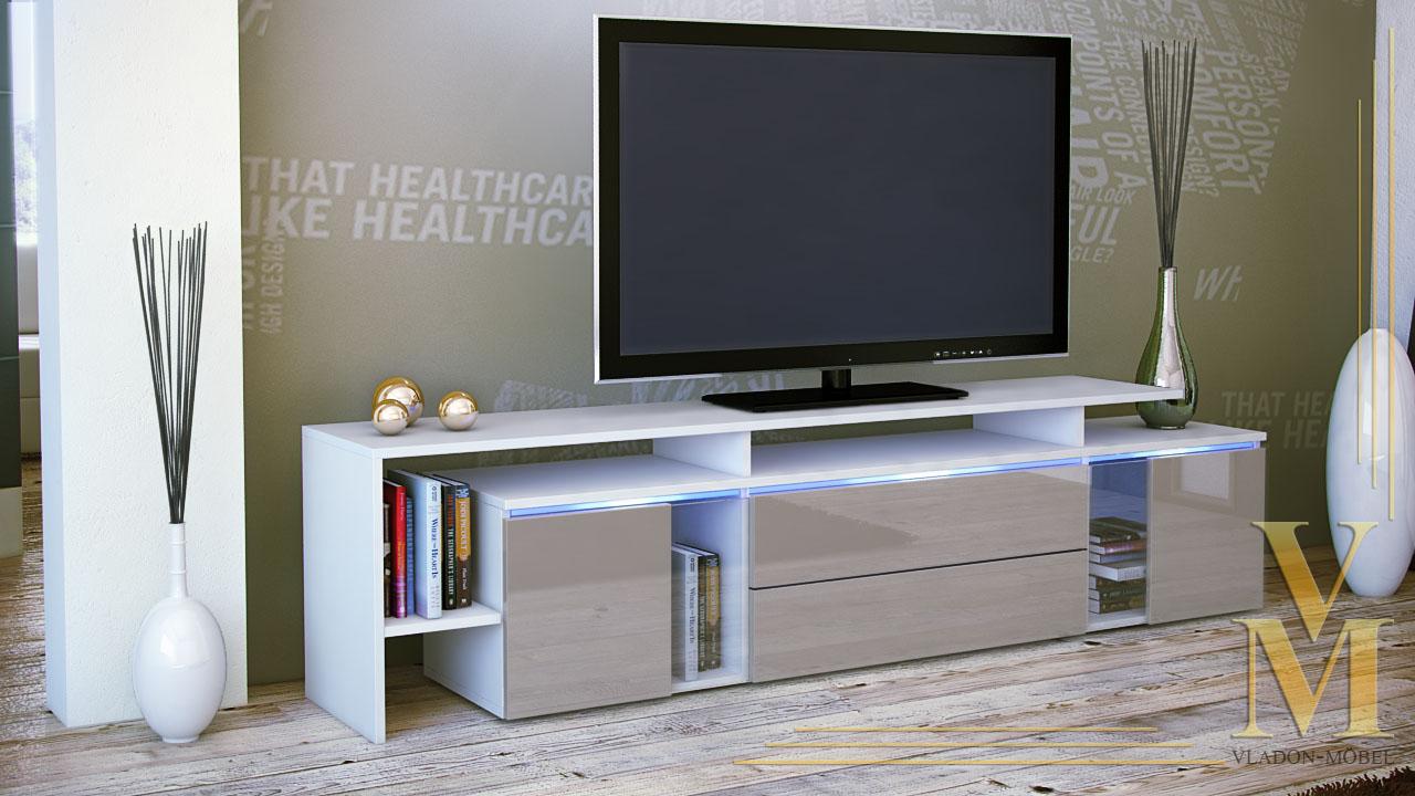 tv stand board unit lowboard cabinet lissabon white high. Black Bedroom Furniture Sets. Home Design Ideas
