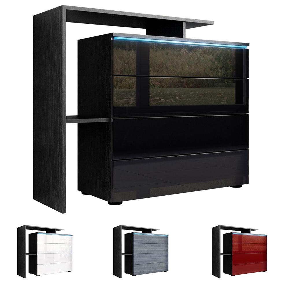 kommode schrank anrichte sideboard lissabon v2 in schwarz. Black Bedroom Furniture Sets. Home Design Ideas