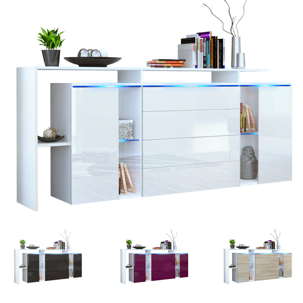 sideboard cabinet lissabon v2 white matt high gloss natural tones ebay. Black Bedroom Furniture Sets. Home Design Ideas