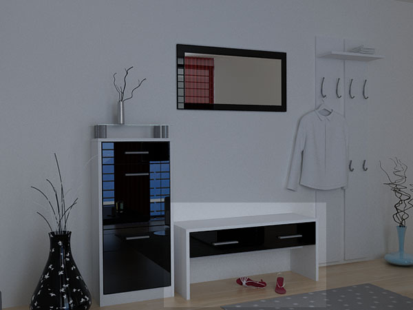 schuhbank sitzbank loret wei schwarz hochglanz ebay. Black Bedroom Furniture Sets. Home Design Ideas