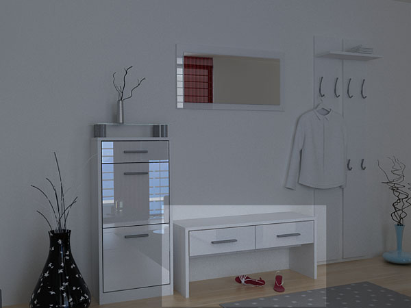 shoe bench loret in white white high gloss ebay. Black Bedroom Furniture Sets. Home Design Ideas