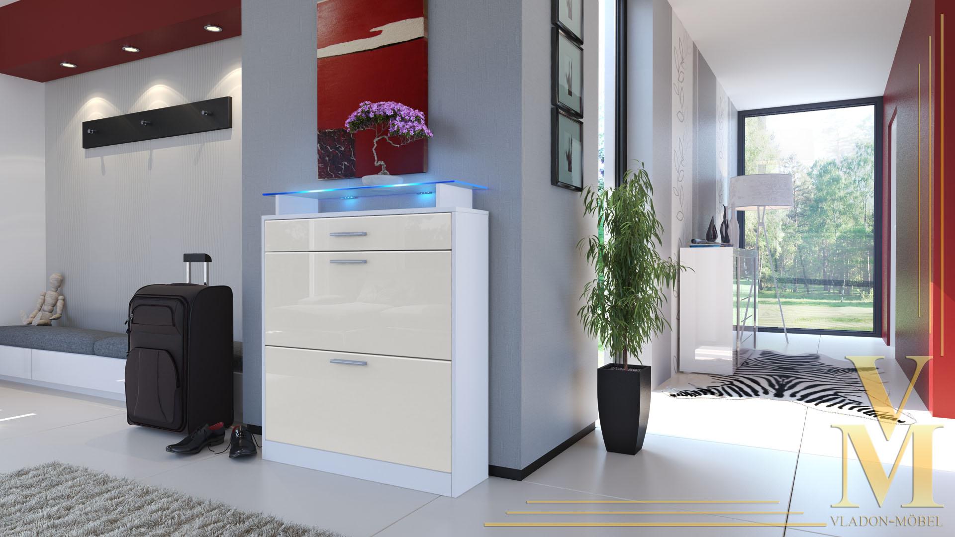 schuhschrank schuhkipper loret in wei creme hochglanz ebay. Black Bedroom Furniture Sets. Home Design Ideas